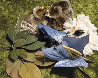 5 DOLLAR SALE // Vintage Millinery Flower Lot// Leaves// Daisies// Butterflies// Stamens// Velvet Petals// Floral Arrangement Supplies