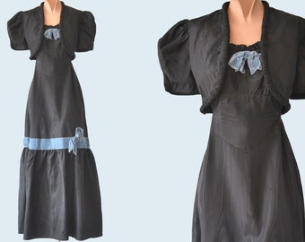 1930s Black Satin Dres with Cropped Jacket size XS