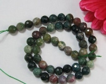 3 strands Indian Agate 8mm round faceted Loose Beads