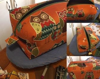 Box Pouch Zippered Handmade OWLS Cosmetic Bag - Toiletry Bag - Accessory Bag - Storage Bag