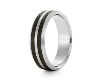 Dual Oval Palladium - Palladium & Wood Ring