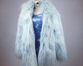 90's Baby Blue with WHite Tips Super Thick and Long Shaggy Faux Fur Coat // M - L