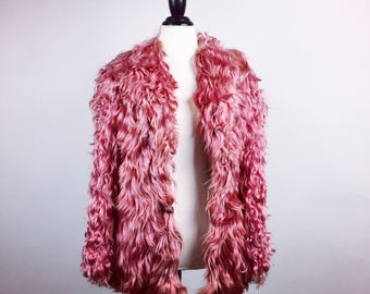 70s Almost Famous Rockstar Silky Mauve Rose Pink Long Goat Hair Fur Coat // S