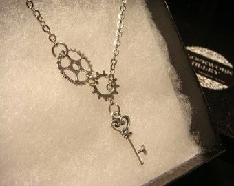Steampunk Gear and Cog Lariat Style Necklace with Tiny Key (2223)