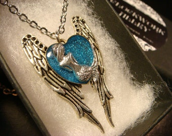 Mermaid  Blue Heart  Angel Wings Necklace (2340)