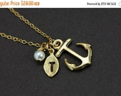 Gold Anchor Necklace - Personalized Anchor Necklace with Initial Hand Stamped Leaf, Nautical Theme, Best Friend Gift Idea, Vintage Inspired