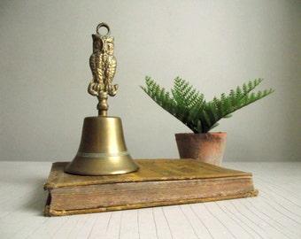 Brass Owl Bell , Vintage Brass Hand Bell , Teachers Gift , Woodland Cabin Brass Decor