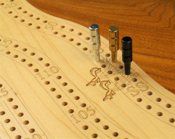 "High Quality 2 Player Cribbage Board 16""L x 5W"" x 2"". w/choice of pegs, Solid Hardwood, Game Board - Laser Engraved, 2 Tier,  Paul Szewc"