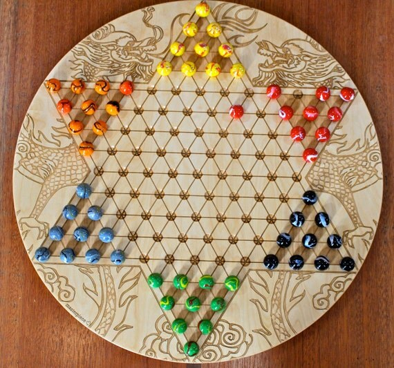 """High Quality Jumbo Chinese Checkers w 20mm designer Marbles- Dragon Pattern Laser Engraved,  18 5/8"""" Dia x 5/8"""" thick,  Paul Szewc"""