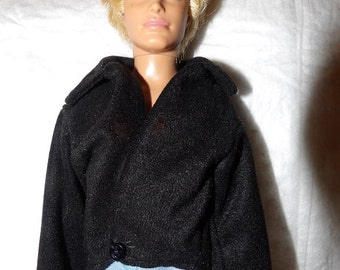 Black faux Suede short coat for male Fashion Dolls - kdc84