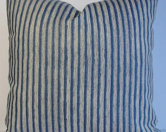 KRAVET dark indigo linen stripe Decorative pillow cover Both Sides, Nautical boho square lumbar Designer pillow cover
