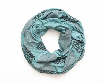 INFINITY SCARF - Screen Printed - Gray Flowers on Robin's Egg