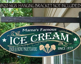 ICE CREAM CONE Kitchen Gift Family Name Aluminum Custom Personalized Sign