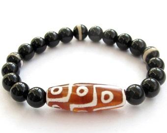 10mm Tibetan Heavenly 9 Eye Dzi Agate Bead Bracelet Fortune Feng Shui Jewelry  T0956