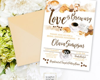 Love is Brewing Coffee Bridal Shower Invitation - But First Coffee Bridal Shower Coffee Beans Cupcake Croissant Cupcake Printable Invitation