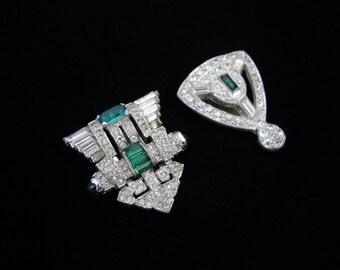 KTF Trifari Vintage Green Pave Rhinestone Dress Clip, Part of Clipmates, Emerald Green Clear Rhinestone, Silver Tone Metal, Clip Mates