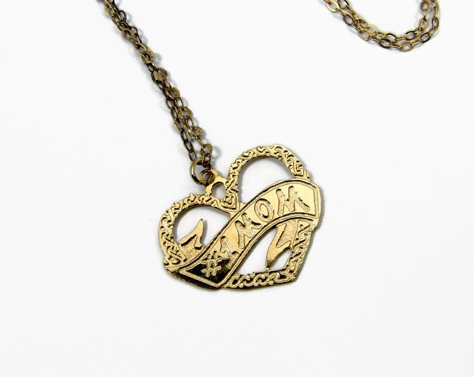 MOM Heart Pendant Necklace, Sterling Silver, Gold Plated, Mothers Day, Vintage Jewelry, 925 Silver, #1 Mom, Sterling Chain