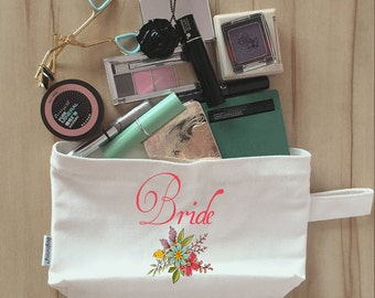 Bridal Party Makeup Bag, Canvas, Bridesmaid Makeup Pouch, Wristlet, Customize Clutch