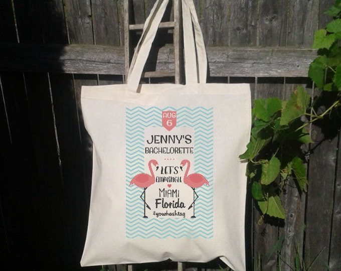 Lets Flamingle, Bachelorette Party, Canvas Tote Bag, Beach Tote, Personalized for FREE, Flamingos