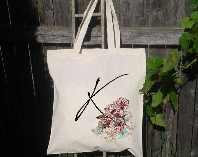 Bridesmaid Tote Bag, Vintage Floral  Bridesmaid Tote, Customize with Initial, Personalized Gift