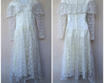 1980s Gunne Sax Wedding Dress. Ivory Wedding Dress. Lace Dress. Edwardian Style Dress. Lace Wedding Dress. Romantic Dress. ivory Lace Dress.