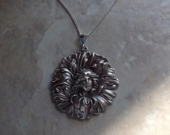 """Sterling silver art nouveau cameo girl in chrysanthemum large pendant 18"""" necklace"""