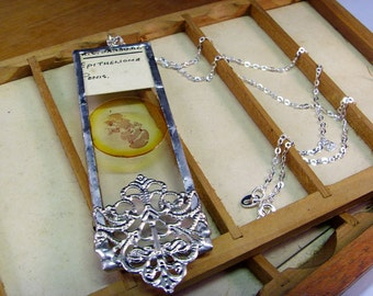 Antique microscope slide necklace penis histology biology science jewellery