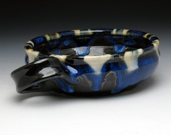SECONDS SALE: Black & Blue Shaving Bowl with Angled Handle for Right Handers