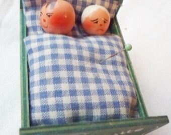 Vintage German Novelty Pincushion 'Ruhe Bitte' Wood Bed
