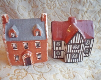 Vintage pair of English Suffolk Cottages - Olde Shoppe