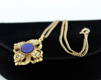 Pendant Necklace with Lapis Cabochon and Faux Pearls