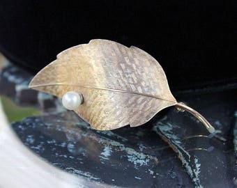 Krementz Leaf Brooch - Rolled Gold with Cultured Pearl