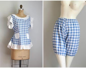 1950s gingham playsuit - bloomer & top set / blue gingham check bloomers - 1950s beach playsuit / 40s blouse matching top