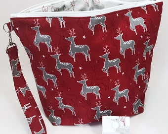 """Large Zipper Knitting Project Bag """"Christmas Deer?"""" (Wedge Style):  with detachable handle! (10"""" x 14"""" x 5"""" base)"""