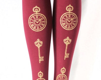 Gold Burgundy Tights Pocket Watch and Keys Medium Tall Oxblood Bordeaux Cranberry Red Clock Lolita Steampunk