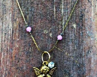 Angel Necklace with Rhinestone on Vintage Chain  Paris Chic Sweetheart  Minimalist