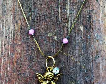 Angel Necklace with Rhinestone on Vintage Chain  Paris Chic Sweetheart Christmas Gift Minimal
