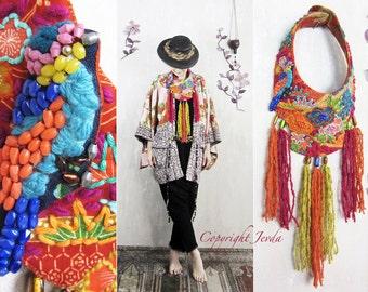 wearable art jewelry, textile art, fiber art, art necklace, art jewelry, multicolor necklace, wearable art, summer necklace, collar, ooak