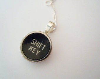 Typewriter Shift Key Sterling Silver Pendant Necklace