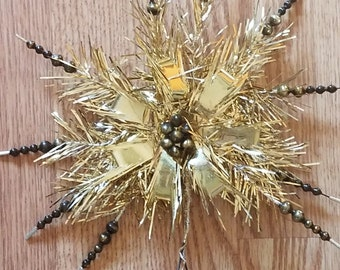 Vintage Gold Garland and Bead Star Tree Topper