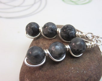 Labradorite earrings -  wire wrapped gemstone earrings - grey black earrings - wire wrap earrings - sterling silver ear hooks