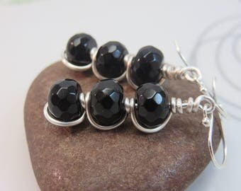 Black agate earrings -  wire wrapped gemstone earrings - black earrings - wire wrap earrings - bead stack jewelry sterling silver ear hooks