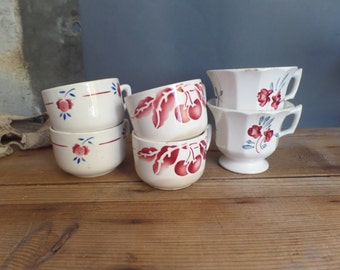 Vintage FRENCH 6 mismatched coffee cups red/blue/white colors - 1940s style - patterns - shabby chic