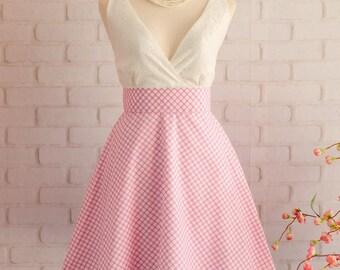 Pink Dress Pink Plaid Dress Pink Prom Dress Pink Party Dress Pink Bridesmaid Dresses Pink Sundress White Lace Top Dress