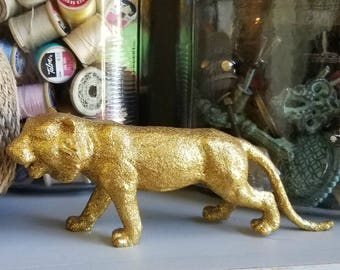 Gold Glitter Tiger - Bengal Tiger Decor - Glitter Home Decor - Siberian Tiger - Upcycled Tiger Toy - All That Glitters - Jungle Decor