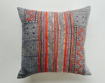 Colorful Batik Hmong Pillow Cover - Hmong Tribal Pillow - Boho Décor