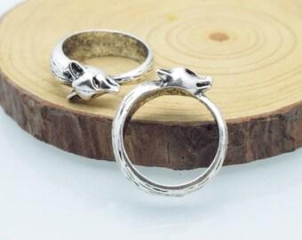 8pcs 17mm Antique Silver 3D Ring Charm Pendant  C8454