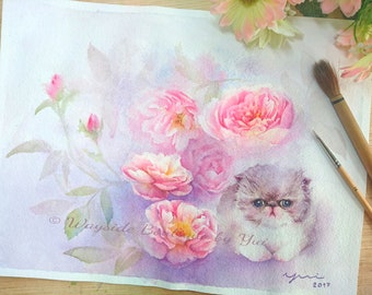 Kitten & Roses - ORIGINAL watercolor painting 24x32 cm.