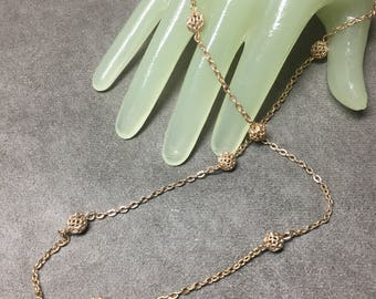 "Vintage 22"" Goldtone Chain Necklace Round Decorative Beaded Accents"