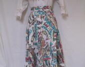 "1950s Circle Skirt, Ethnic, Peasant, Hawaiian, Peruvian, Mexican, Scenic, Figural, 30"" Waist"
